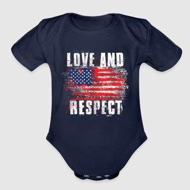 Love and Respect USA Flag American Pride T Shirt - Organic Short Sleeve Baby Bodysuit