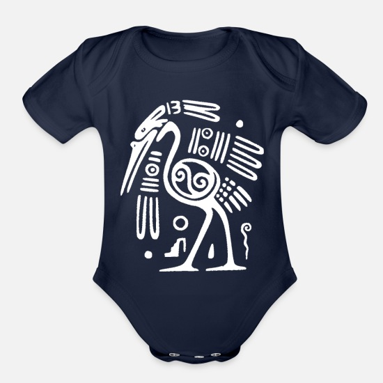 Birthday Baby Clothing - tribal - Organic Short-Sleeved Baby Bodysuit dark navy
