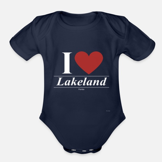 Usa Baby Clothing - Lakeland Florida FL Floridian - Organic Short-Sleeved Baby Bodysuit dark navy