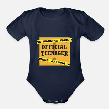 Teenager Warning Official Teenager - Organic Short-Sleeved Baby Bodysuit