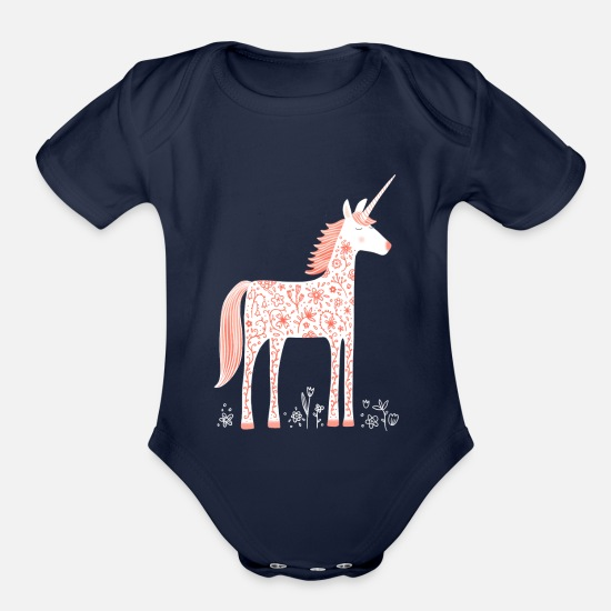Magic Baby Clothing - Unicorn With Flowers - Organic Short-Sleeved Baby Bodysuit dark navy