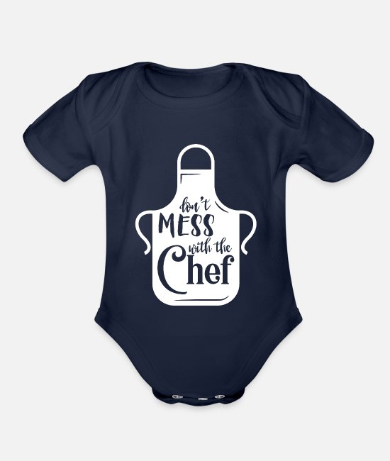 Dope Chef Baby One Pieces - Cooking Chef Cook Cooked Kitchen Rib Roast Time - Organic Short-Sleeved Baby Bodysuit dark navy
