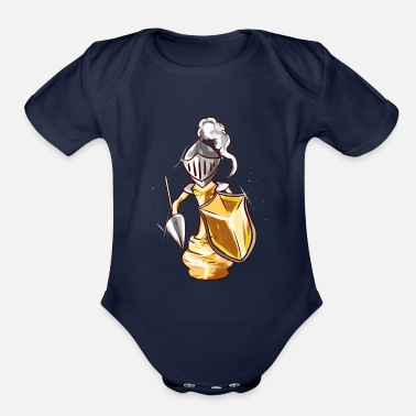 Puzzle Chess piece runner knight chess gift king - Organic Short Sleeve Baby Bodysuit
