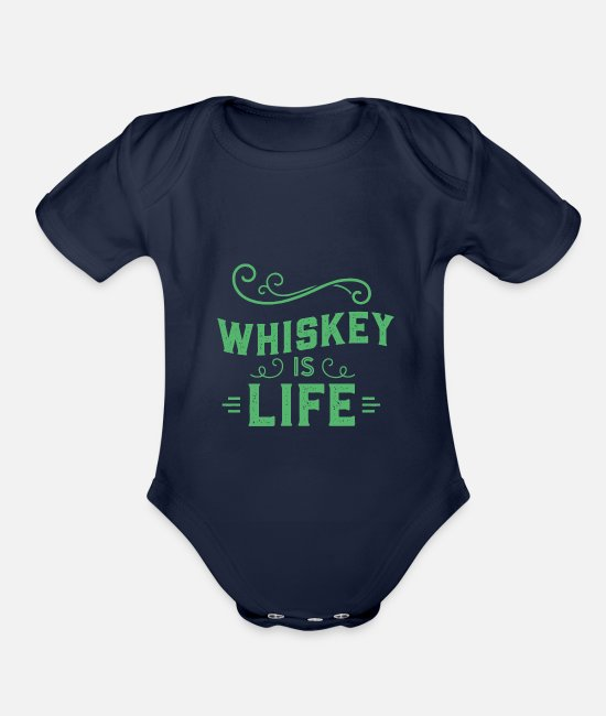 Celtic Baby One Pieces - Whiskey is Life - Organic Short-Sleeved Baby Bodysuit dark navy