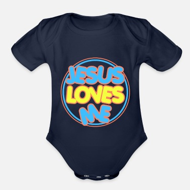 Jesus Loves Me Cute Design For Infants Clothing - Organic Short-Sleeved Baby Bodysuit