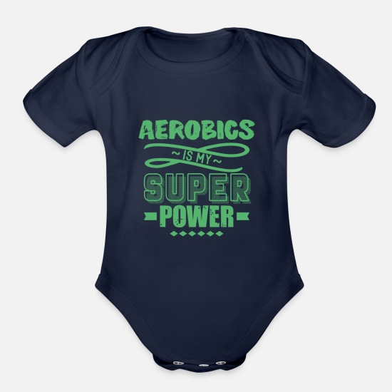 Aerobics Baby Clothing - Fitness Aerobic Aerobics Step-Aerobic Sports - Organic Short-Sleeved Baby Bodysuit dark navy
