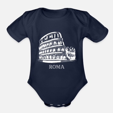 Italy Colosseum Colosseo Amphitheatre Roma Rome Italy - Organic Short-Sleeved Baby Bodysuit