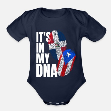 Pr Dominican And Puerto Rican DNA Heritage Flag Gift - Organic Short-Sleeved Baby Bodysuit