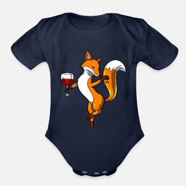 Drink Cute Fox Wine Drinking Lover Party - Organic Short-Sleeved Baby Bodysuit