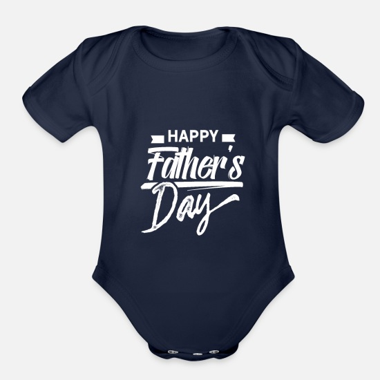 Father's Day Baby Clothing - Father's Day Father's Day Father's Day - Organic Short-Sleeved Baby Bodysuit dark navy
