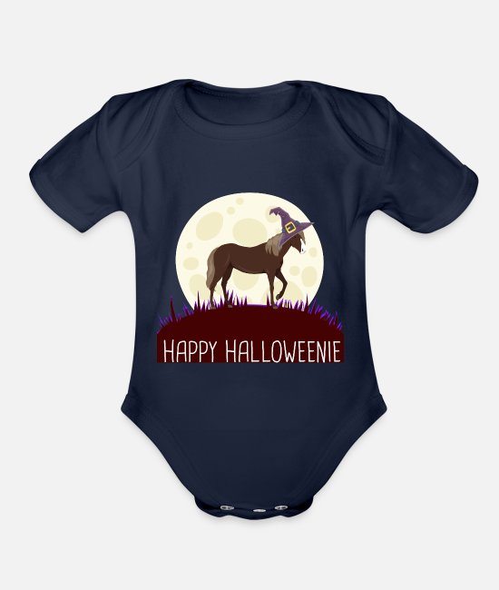 Horse Manure Baby One Pieces - HORSE Happy Halloweenie gift i - Organic Short-Sleeved Baby Bodysuit dark navy