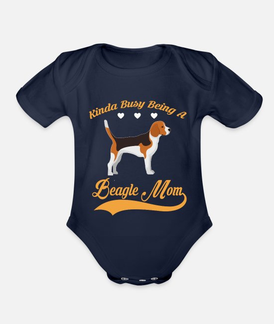 Quote Baby One Pieces - Kinda busy being BEAGLE MOM - Organic Short-Sleeved Baby Bodysuit dark navy