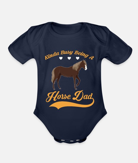 Horseshoe Baby One Pieces - Kinda busy being HORSE DAD - Organic Short-Sleeved Baby Bodysuit dark navy