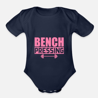 Press Bench Press Bench Press Bench Press Bench Press - Organic Short-Sleeved Baby Bodysuit