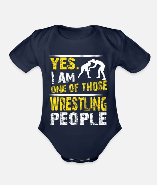 Funny WRESTLING Baby One Pieces - One of those WRESTLING people - Organic Short-Sleeved Baby Bodysuit dark navy