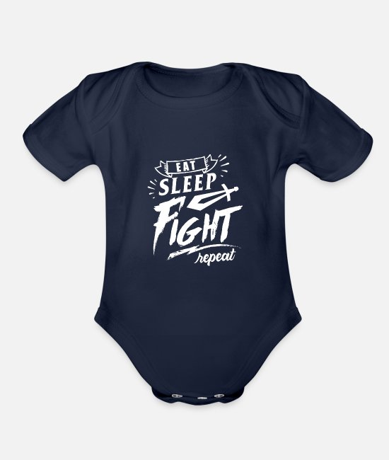 Medieval Baby Clothing - Medieval Knight Fighting Tournament - Organic Short-Sleeved Baby Bodysuit dark navy