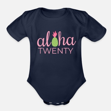 20th Birthday Aloha Beach Tropical Vacation Party - Organic Short-Sleeved Baby Bodysuit