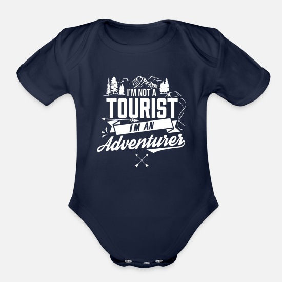 Nature Baby Clothing - Adventurer Tourist Adventures Adventure Tourism - Organic Short-Sleeved Baby Bodysuit dark navy