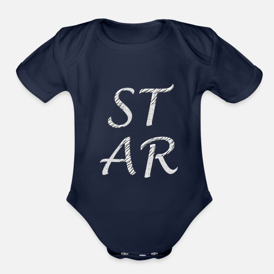 Starry Sky Baby Clothing - Star tshirt - Organic Short-Sleeved Baby Bodysuit dark navy