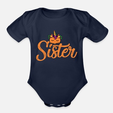 Toddlers Sister Unicorn Pumpkin 1st Birthday family gift - Organic Short-Sleeved Baby Bodysuit