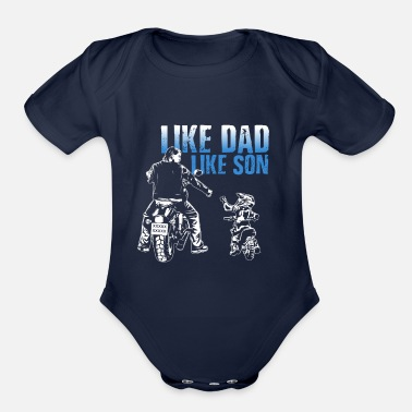 Son father and son bike biker motorcycle - Organic Short-Sleeved Baby Bodysuit