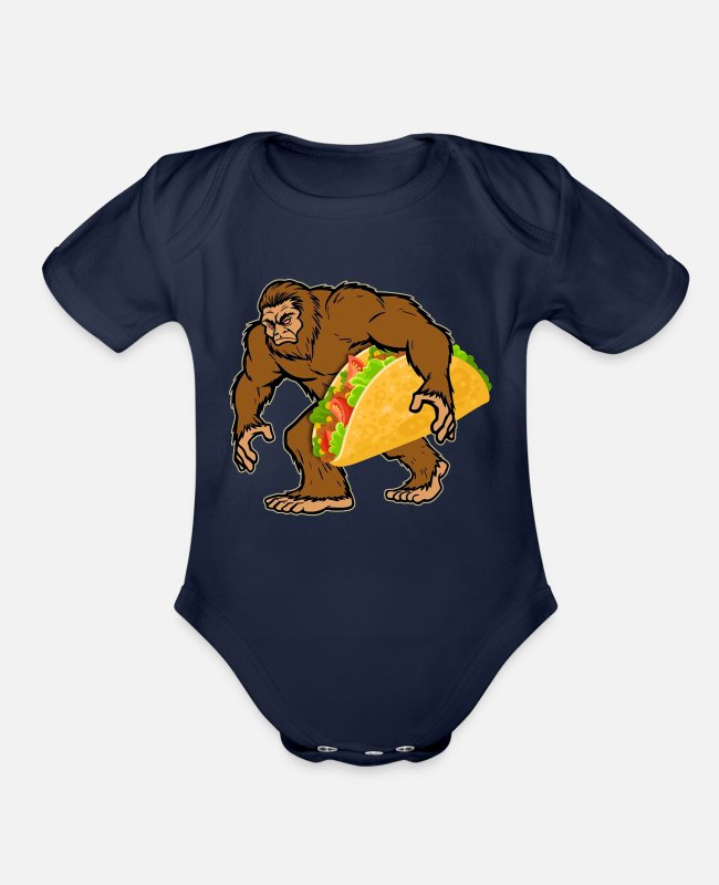 Sasquatch Baby One Pieces - Bigfoot Carrying Taco T shirt Men Cinco de Mayo - Organic Short-Sleeved Baby Bodysuit dark navy