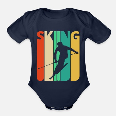 Skiing Awesome 70's Vintage Retro Skiing Gifts for Skiers - Organic Short-Sleeved Baby Bodysuit