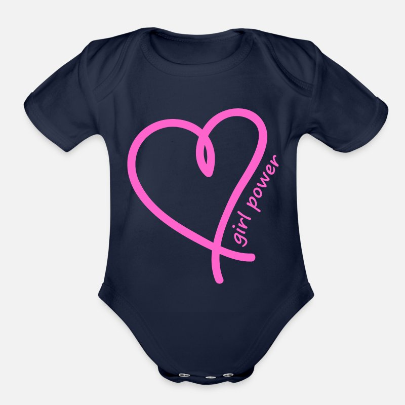 Girlfriend Baby Clothing - Girl Power - Organic Short-Sleeved Baby Bodysuit dark navy