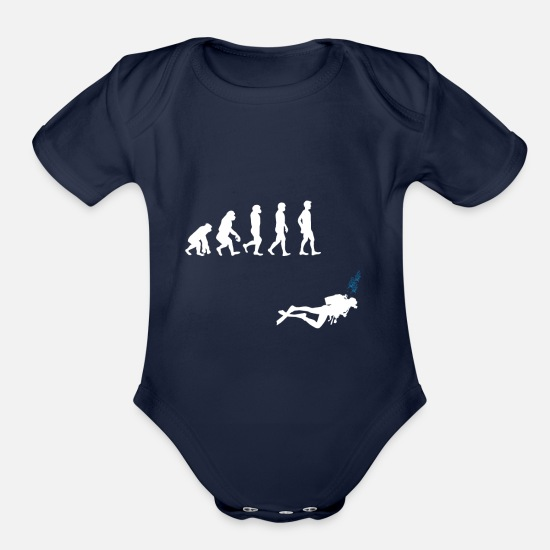 Love Baby Clothing - Evolution diver gift sport under water love - Organic Short-Sleeved Baby Bodysuit dark navy