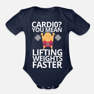 weights and cardio - Organic Short-Sleeved Baby Bodysuit