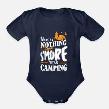 Marshmallow There Is Nothing I Love S'more Than Camping T-Shir - Organic Short-Sleeved Baby Bodysuit