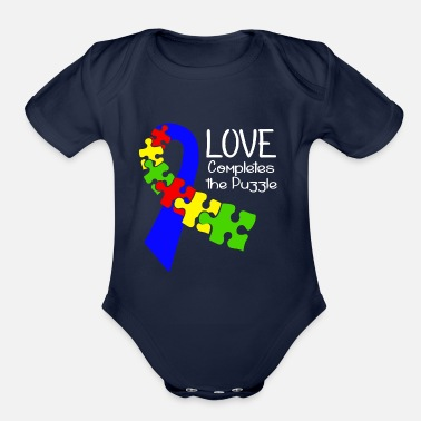 Autism Ribbon Autism Puzzle Ribbon Awareness - Organic Short-Sleeved Baby Bodysuit