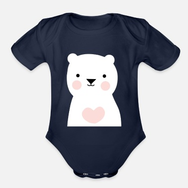 Cute bear baby shirt - Organic Short-Sleeved Baby Bodysuit