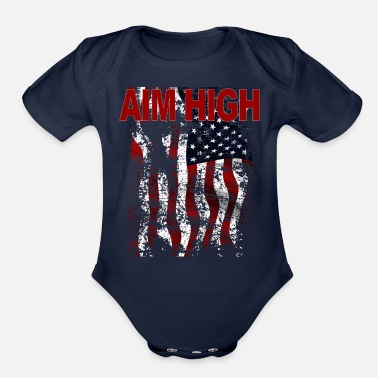Airforce AIM HIGH AIRFORCE American Flag - Organic Short-Sleeved Baby Bodysuit