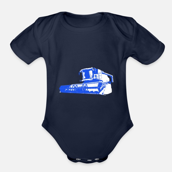 Maize Baby Clothing - Harvester grain corn threshing crop farmer - Organic Short-Sleeved Baby Bodysuit dark navy