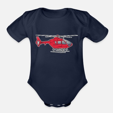 Rotors Red helicopter, chopper, eggbeater - Organic Short-Sleeved Baby Bodysuit
