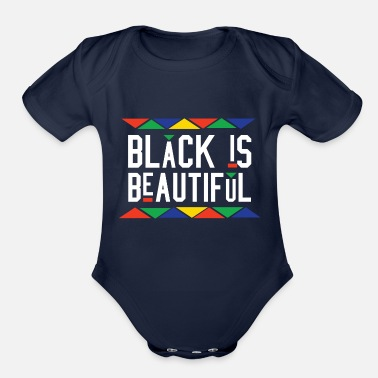 African American Black Is Beautiful (White Letters) - Organic Short Sleeve Baby Bodysuit