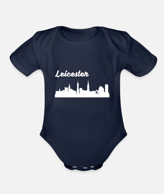 Skyline Baby One Pieces - Leicester Skyline - Organic Short-Sleeved Baby Bodysuit dark navy