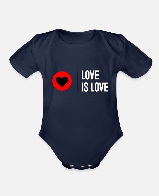 Heart Baby One Pieces - Love is Love Hearts - Organic Short-Sleeved Baby Bodysuit dark navy