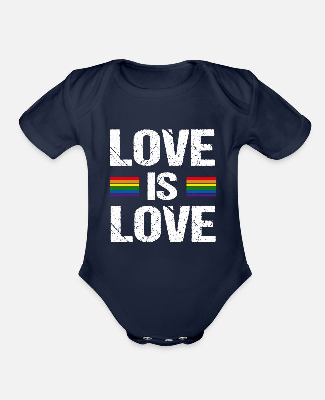 Marriage Equality Baby One Pieces - Love is Love - Organic Short-Sleeved Baby Bodysuit dark navy