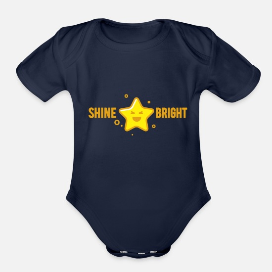 Lucky Baby Clothing - shine bright like a star - Organic Short-Sleeved Baby Bodysuit dark navy