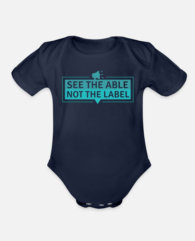 Down Syndrome Awareness Baby One Pieces - See the Able - Organic Short-Sleeved Baby Bodysuit dark navy