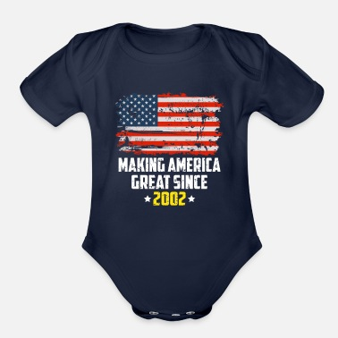 Person Making America Great Since 2002 Patriotic T Shirt - Organic Short Sleeve Baby Bodysuit