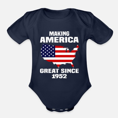 1952 Making America Great Since 1952 Patriotic T Shirt - Organic Short Sleeve Baby Bodysuit