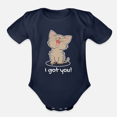 Rescue I Got You! Cute Cat Animal Circle Game Funny Gift - Organic Short Sleeve Baby Bodysuit