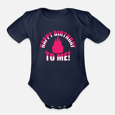 Bursdag Happy Birthday To Me Candles Cake - Organic Short-Sleeved Baby Bodysuit