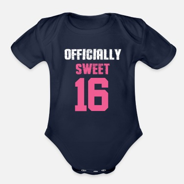 Bursdag Officially Sweet 16 Happy Birthday - Organic Short-Sleeved Baby Bodysuit
