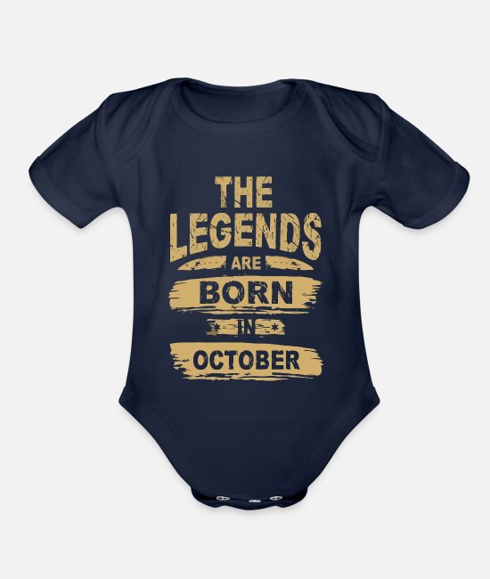 Birthday Boy Baby One Pieces - Legends are Born in October - Organic Short-Sleeved Baby Bodysuit dark navy