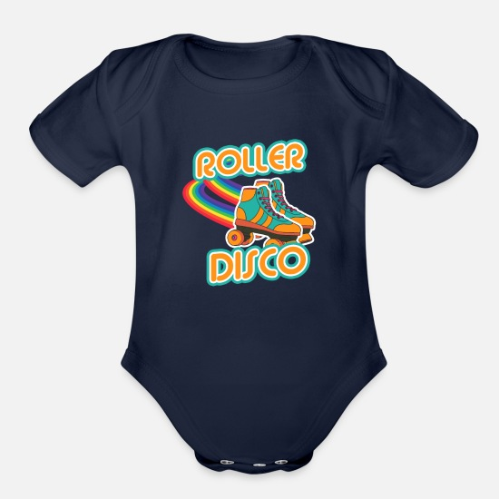Disco Baby Clothing - Roller Disco - Roller Skate Girl Tee Shirt as Gift - Organic Short-Sleeved Baby Bodysuit dark navy