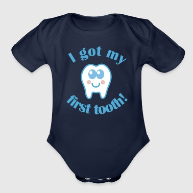 Tooth 1st Tooth Baby Teeth - Organic Short Sleeve Baby Bodysuit